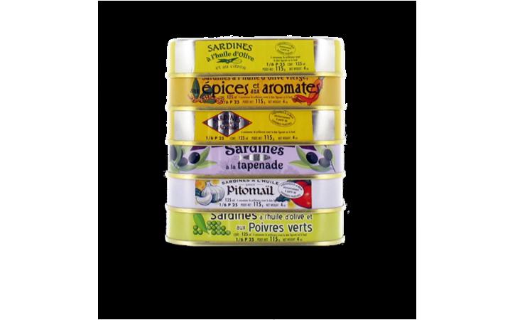 Assortiment Les Glénan - 6 variétés de sardines - Conserverie la belle-iloise