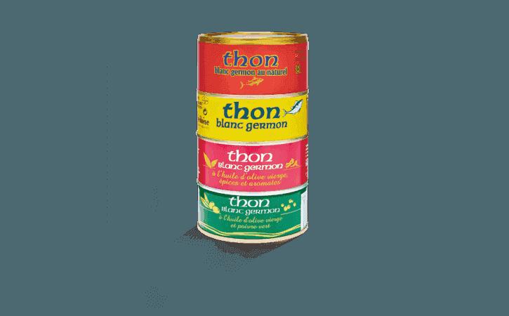 Assortiment de 4 boîtes de thon en tranche - Conserverie la belle-iloise