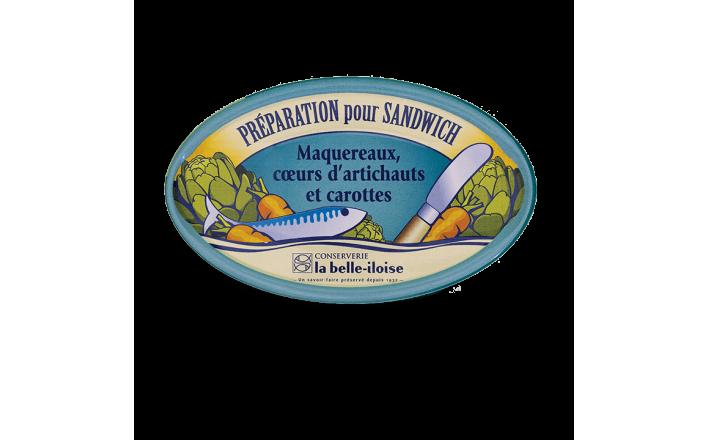 Préparation pour sandwich maquereaux, cœurs d'artichauts et carottes - 3 boîtes de 115g - La Belle Iloise