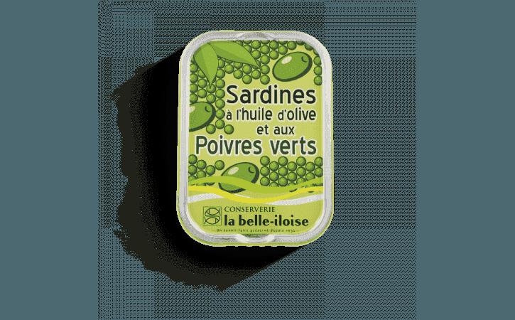 Sardines à l'huile d'olive et aux poivres verts - Conserverie la belle-iloise