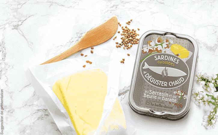 Sardines chaudes au sarrasin et au beurre de baratte - Conserverie la belle-iloise