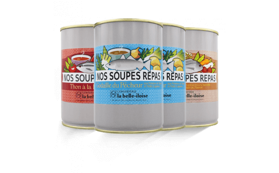 Assortment of main course soups of 380g ea.