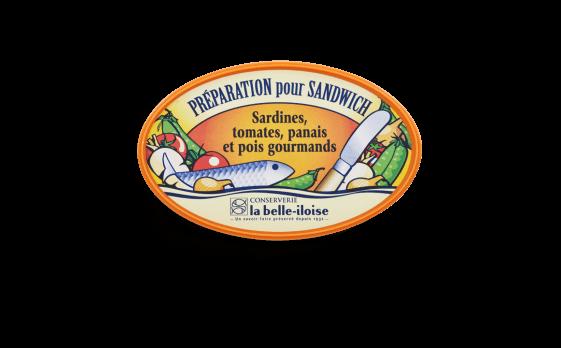 Préparation pour sandwich sardines, tomates, panais et pois gourmands - Conserverie la belle-iloise