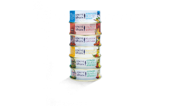 Assortment 6 varieties of flaked sardines 80g ea.