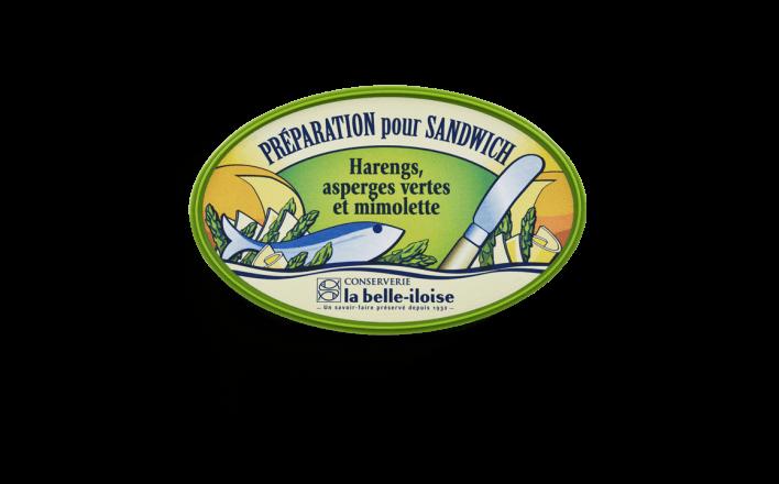 Préparation pour sandwich harengs, asperges vertes et mimolette - Conserverie la belle-iloise