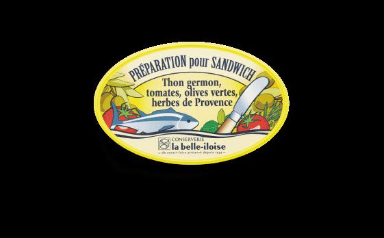 Préparation pour sandwich thon germon, tomates, olives vertes et...