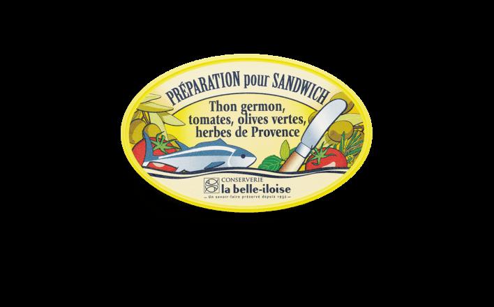 Préparation pour sandwich thon germon, tomates, olives vertes et herbes de Provence - 3 boîtes de 115g - La Belle Iloise