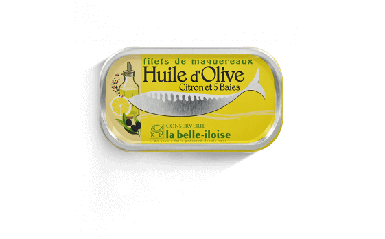 Mackerel fillets with olive oil, lemon and 5 peppercorns - 5 tins...
