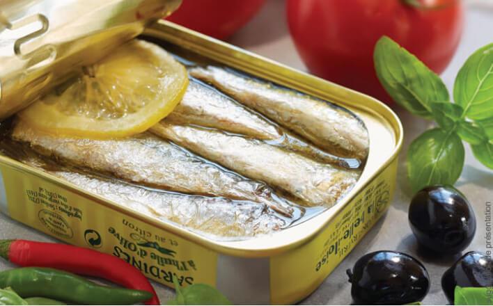 Sardines with olive oil and lemon - 5 tins of 69g ea. - La Belle Iloise