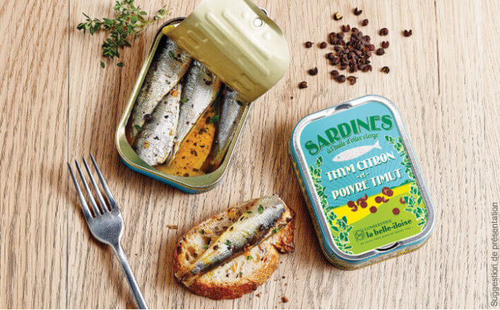 Sardines à l'huile d'olive, thym citron et poivre Timut - 5 boîtes de 115g - La Belle Iloise