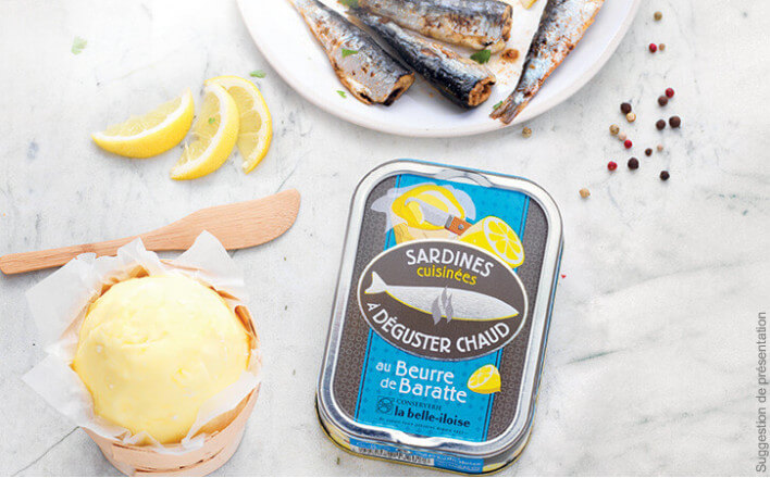 Sardines cooked with churned butter to be served hot - 3 tins of 115g ea. - La Belle Iloise