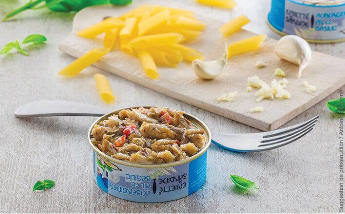 emiette de sardines aubergines, ail et basilic