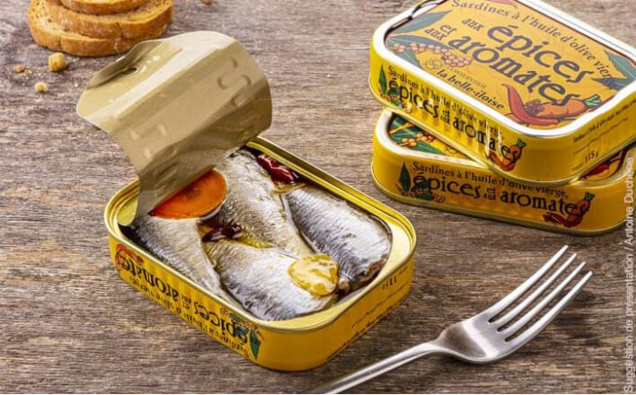 Sardines with olive oil, spices and aromatic flavourings - 5 tins of 115g ea. - La Belle Iloise