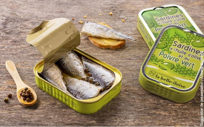 Sardines à l'huile d'olive et aux poivres verts - 5 boîtes de 115g - La Belle Iloise