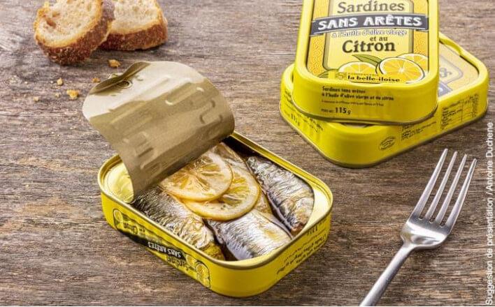 Sardines sans arêtes à l'huile d'olive et au citron - 5 boîtes de 115g - La Belle Iloise