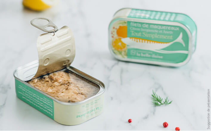 Mackerel fillets and sauce with notes of lemon bergamot and dill - 5 tins of 118g ea. - La Belle Iloise