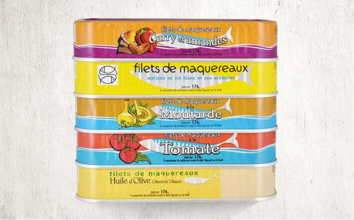 Assortiment de filets de maquereaux - 5 boîtes de 176g - La Belle Iloise