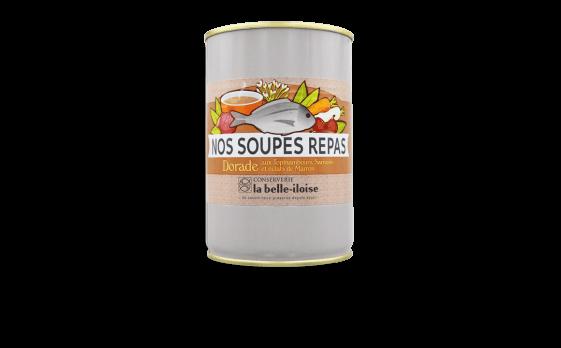 Nos soupes repas dorade aux topinambours, sarrasin et éclats de marron - Conserverie la belle-iloise