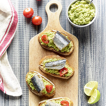 Sardine guacamole on toast