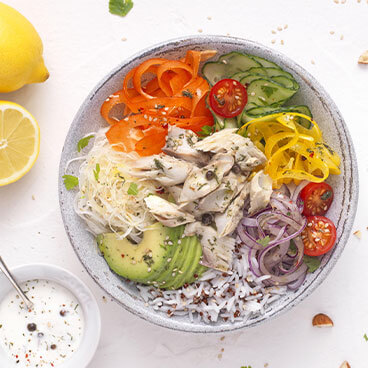 Buddha bowl with mackerel, bergamot lemon and dill