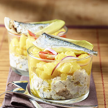 Sardines served in glasses with Piccalilli sauce