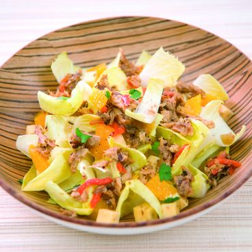 Endive salad with mackerel cooked in beer