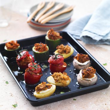 Mini tuna-stuffed vegetables